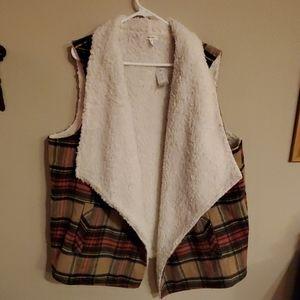 Plaid Sherpa vest